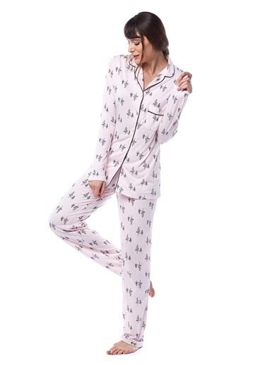 Pamuk & Pamuk Kadın Çam Ağaç Desenli Gömlek Pijama Takımı Pembe